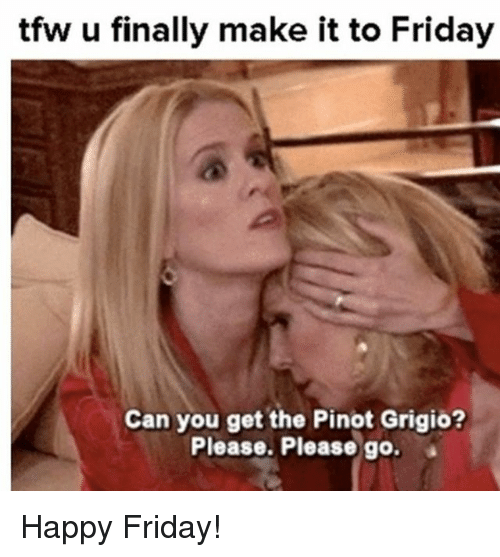 Friday, Memes, and Tfw: tfw u finally make it to Friday  Can you get the Pinot Grigio?  Please. Please go. Happy Friday!