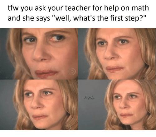 "Tfw, Ask, and Step: tfw you ask your teacher for help on math  and she says ""well, what's the first step?"""