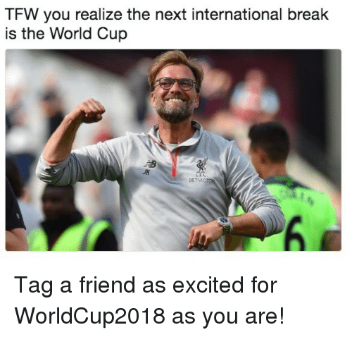 Soccer, Sports, and Tfw: TFW you realize the next international break  is the World Cup  JK Tag a friend as excited for WorldCup2018 as you are!