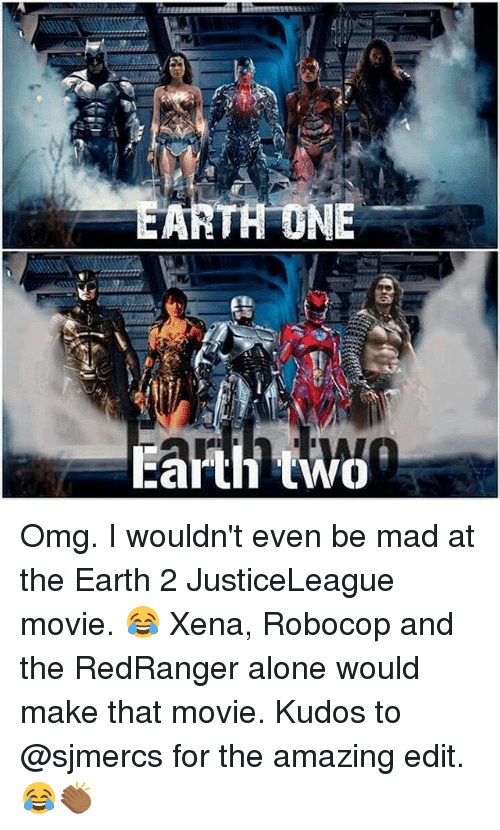 RoboCop: TH DNE  Earth two Omg. I wouldn't even be mad at the Earth 2 JusticeLeague movie. 😂 Xena, Robocop and the RedRanger alone would make that movie. Kudos to @sjmercs for the amazing edit. 😂👏🏾
