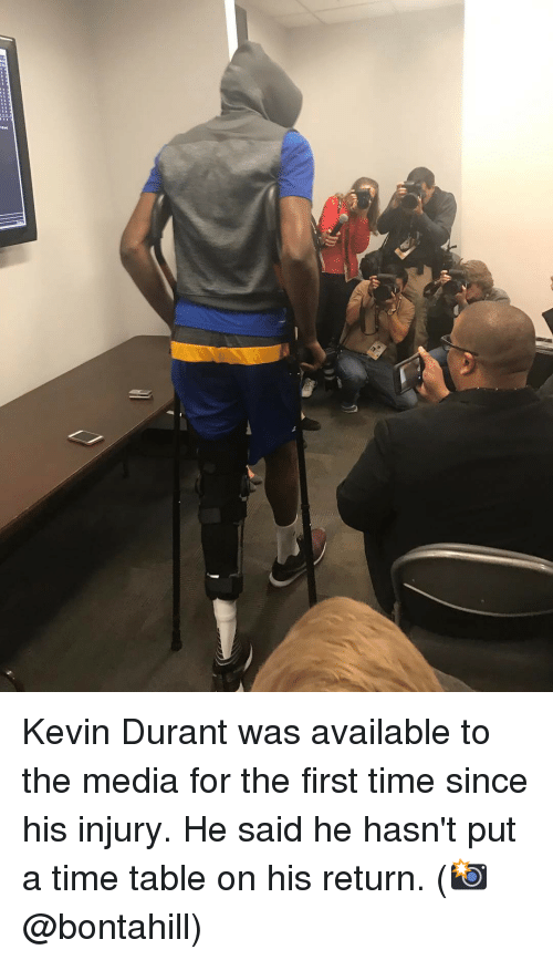 Basketball, Golden State Warriors, and Kevin Durant: th Kevin Durant was available to the media for the first time since his injury. He said he hasn't put a time table on his return. (📸 @bontahill)
