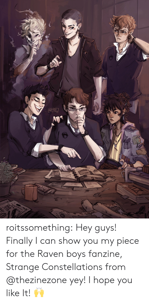 the raven: th roitssomething:  Hey guys! Finally I can show you my piece for the Raven boys fanzine, Strange Constellations from @thezinezone yey!   I hope you like It! 🙌