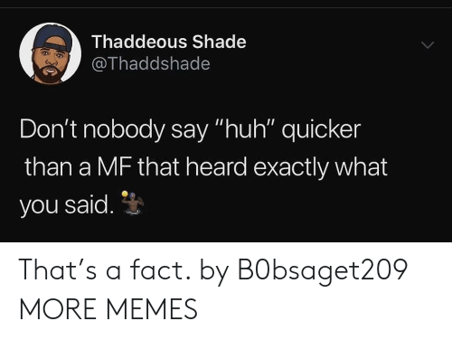 """shade: Thaddeous Shade  @Thaddshade  Don't nobody say """"huh"""" quicker  than a MF that heard exactly what  you said. That's a fact. by B0bsaget209 MORE MEMES"""