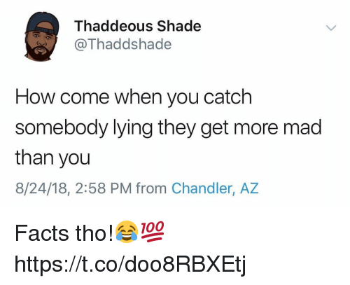 Facts, Shade, and Mad: Thaddeous Shade  Thaddshade  How come when you catch  somebody lying they get more mad  than you  8/24/18, 2:58 PM from Chandler, AZ Facts tho!😂💯 https://t.co/doo8RBXEtj