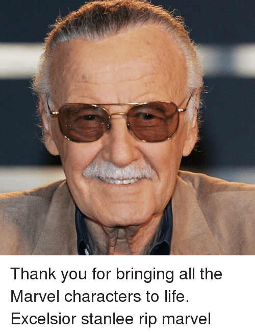 marvel characters: Thank you for bringing all the Marvel characters to life. Excelsior stanlee rip marvel