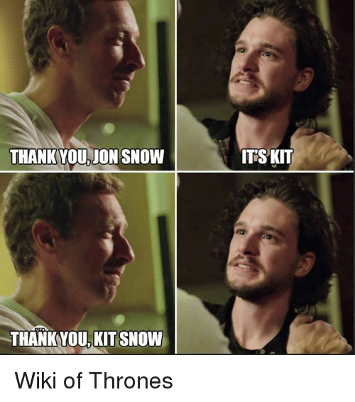 Memes, Jon Snow, and Thank You: THANK YOU.  JON SNOW  THANKYOU KIT SNOW  IT SKIT Wiki of Thrones