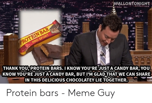 Protein Meme: THANK YOU,PROTEIN BARS.I KNOW YOU'RE JUSTA CANDY BAR,YOU  KNOW YOU'RE JUST A CANDY BAR, BUT I'M GLAD THAT WE CAN SHARE  IN THIS DELICIOUS CHOCOLATEY LIE TOGETHER Protein bars - Meme Guy