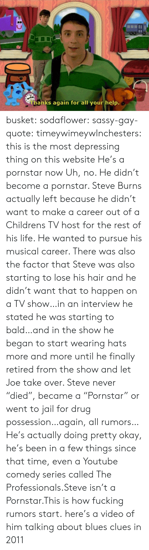 """Blues: Thanks again for all your help. busket: sodaflower:  sassy-gay-quote:  timeywimeywlnchesters:  this is the most depressing thing on this website  He's a pornstar now  Uh, no. He didn't become a pornstar. Steve Burns actually left because he didn't want to make a career out of a Childrens TV host for the rest of his life. He wanted to pursue his musical career. There was also the factor that Steve was also starting to lose his hair and he didn't want that to happen on a TV show…in an interview he stated he was starting to bald…and in the show he began to start wearing hats more and more until he finally retired from the show and let Joe take over. Steve never """"died"""", became a """"Pornstar"""" or went to jail for drug possession…again, all rumors… He's actually doing pretty okay, he's been in a few things since that time, even a Youtube comedy series called The Professionals.Steve isn't a Pornstar.This is how fucking rumors start.  here's a video of him talking about blues clues in 2011"""