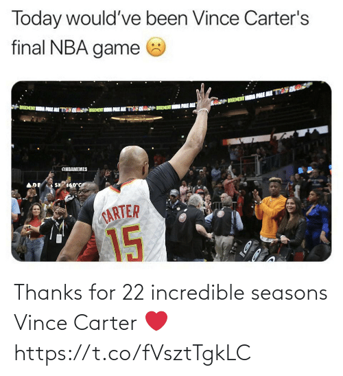 Seasons: Thanks for 22 incredible seasons Vince Carter ❤️ https://t.co/fVsztTgkLC