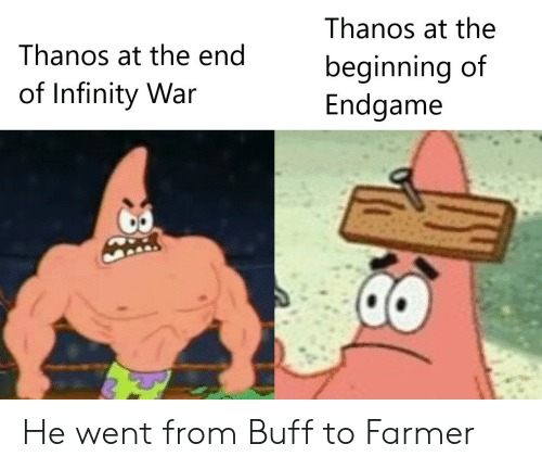 Infinity War: Thanos at the  Thanos at the end  beginning of  Endgame  of Infinity War He went from Buff to Farmer