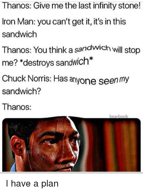 "Chuck Norris: Thanos: Give me the last infinity stone!  Iron Man: you can't get it, it's in this  sandwich  Thanos: You think a sandwich wil stop  me? ""destroys sandwich*  Chuck Norris: Has anyone seen my  sandwich?  Thanos:  bearboo I have a plan"