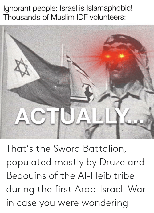 Israeli: That's the Sword Battalion, populated mostly by Druze and Bedouins of the Al-Heib tribe during the first Arab-Israeli War in case you were wondering
