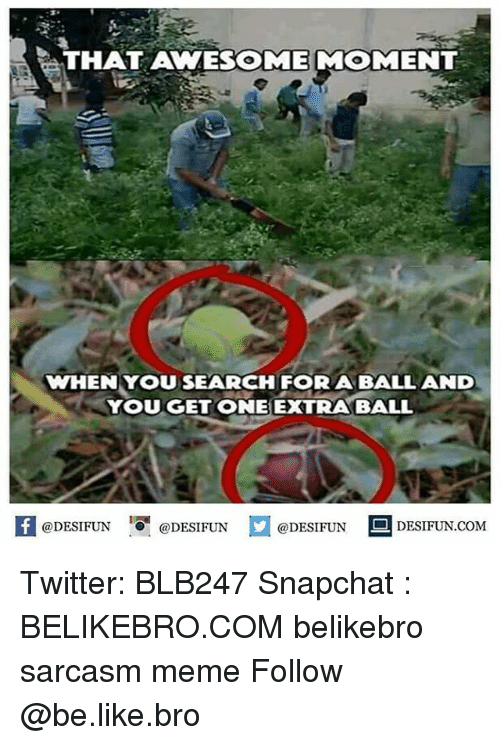 Be Like, Meme, and Memes: THAT AWESOME MOMENT  WHEN YOU SEARCH FOR A BALLAND  YOUGET ONE EXTRABALL  困@DESIFUN 증@DESIFUN  @DESIFUN DESIFUN.COM Twitter: BLB247 Snapchat : BELIKEBRO.COM belikebro sarcasm meme Follow @be.like.bro
