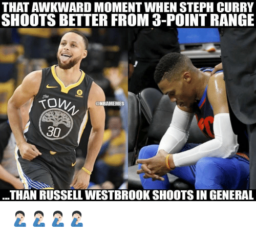 westbrook: THAT AWKWARD MOMENT WHEN STEPH CURRY  SHOOTS BETTER FROM 3-POINT RANGE  on..  @NBAMEMES  30  THAN RUSSELL WESTBROOK SHOOTS IN GENERAL 🤦🏻‍♂️🤦🏻‍♂️🤦🏻‍♂️🤦🏻‍♂️