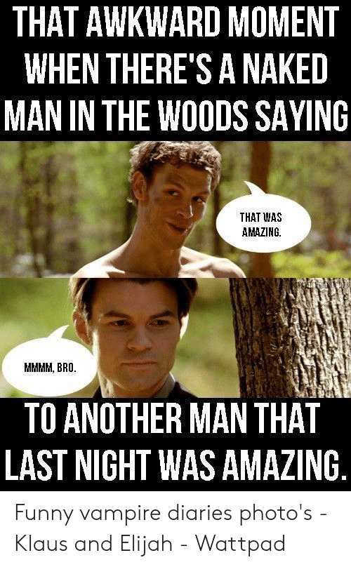 Funny Vampire Memes: THAT AWKWARD MOMENT  WHEN THERE'S A NAKED  MAN IN THE WOODS SAYING  THAT WAS  AMAZING  MMMM, BRO.  TO ANOTHER MAN THAT  LAST NIGHT WAS AMAZING Funny vampire diaries photo's - Klaus and Elijah - Wattpad