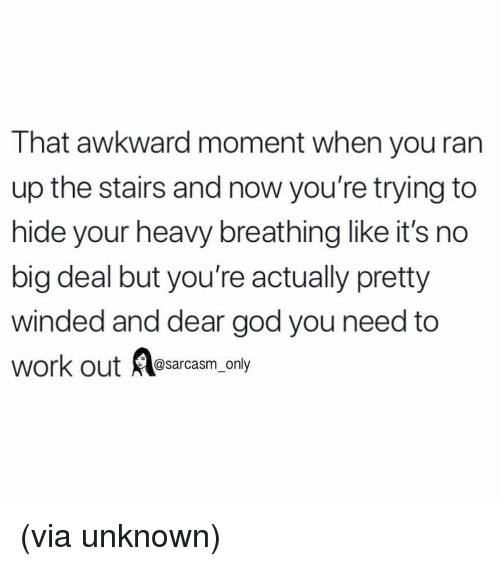 no big deal: That awkward moment when you ran  up the stairs and now you're trying to  hide your heavy breathing like it's no  big deal but you're actually pretty  winded and dear god you need to  work out @sarcasm_only (via unknown)