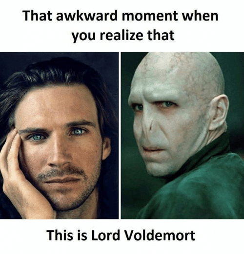 That Awkward Moment When You Realize: That awkward moment when  you realize that  This is Lord Voldemort