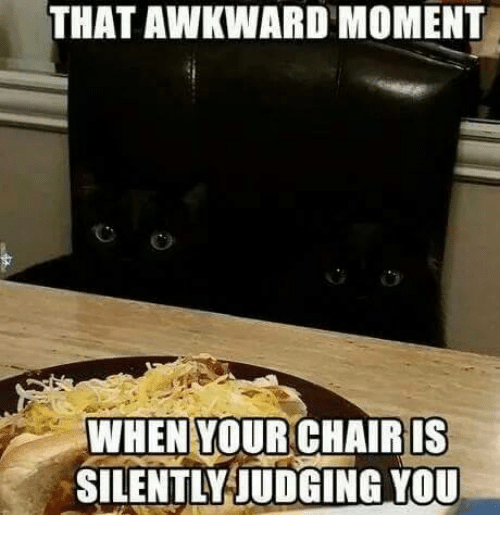 SIZZLE: THAT AWKWARD MOMENT  WHEN YOUR CHAIRIS  SILENTLY JUDGING YOU
