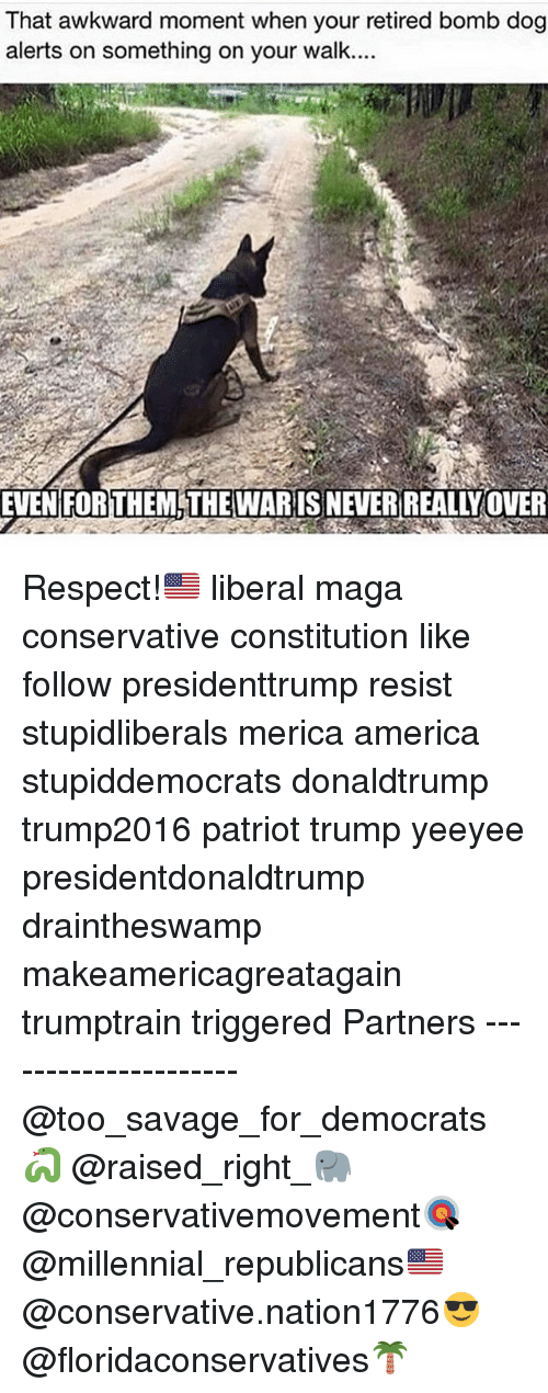 America, Memes, and Respect: That awkward moment when your retired bomb dog  alerts on something on your walk....  THE MLTHEWARISNEVERREALIVOUER Respect!🇺🇸 liberal maga conservative constitution like follow presidenttrump resist stupidliberals merica america stupiddemocrats donaldtrump trump2016 patriot trump yeeyee presidentdonaldtrump draintheswamp makeamericagreatagain trumptrain triggered Partners --------------------- @too_savage_for_democrats🐍 @raised_right_🐘 @conservativemovement🎯 @millennial_republicans🇺🇸 @conservative.nation1776😎 @floridaconservatives🌴