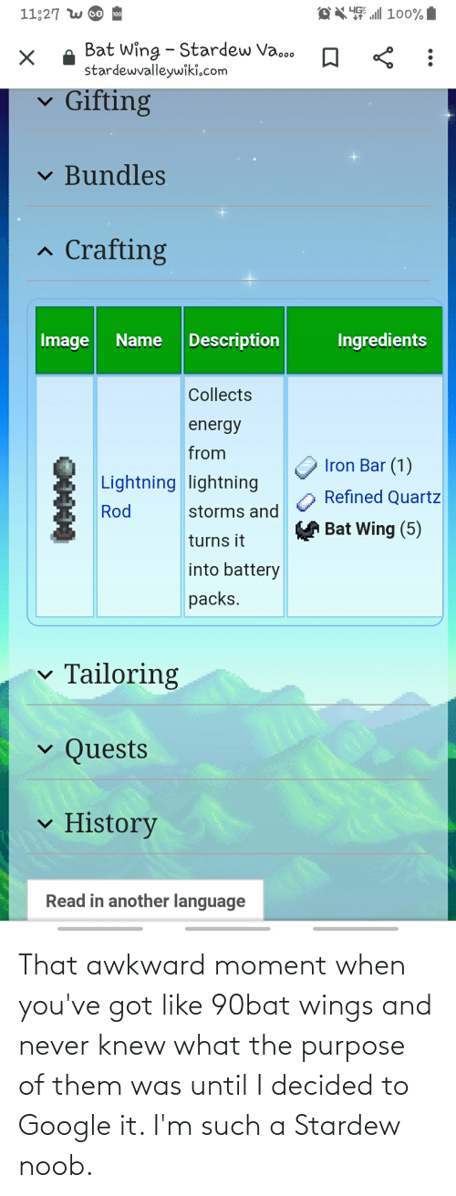 Youve Got: That awkward moment when you've got like 90bat wings and never knew what the purpose of them was until I decided to Google it. I'm such a Stardew noob.