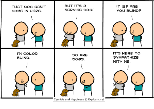 Its Here: THAT DOG CAN'T  COME IN HERE.  BUT IT'S A  SERVICE DOG!  IT ISP ARE  YOU BLIND?  'M COLOR  BLIND  SO ARE  DOGS.  ITS HERE TO  SYMPATHIZE  WITH ME.  Cyan.de and Happiness © Explosm.net「