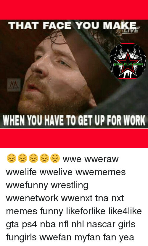 Lol, Memes, and Nascar: THAT FACE YOU MA  WWe lol lol memes  WHEN YOU HAVE TO GETUP FOR WORK 😣😣😣😣😣 wwe wweraw wwelife wwelive wwememes wwefunny wrestling wwenetwork wwenxt tna nxt memes funny likeforlike like4like gta ps4 nba nfl nhl nascar girls fungirls wwefan myfan fan yea