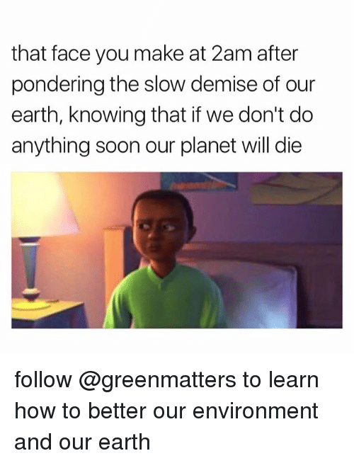 Soon..., Earth, and How To: that face you make at 2am after  pondering the slow demise of our  earth, knowing that if we don't do  anything soon our planet will die follow @greenmatters to learn how to better our environment and our earth