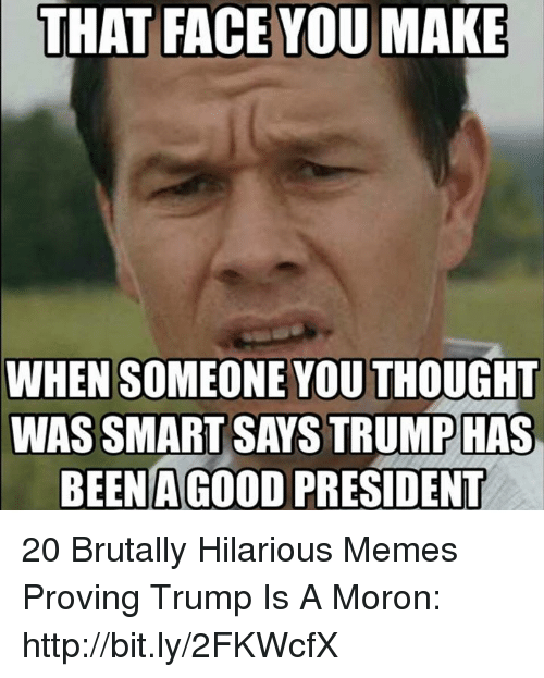 Memes, Http, and Trump: THAT FACE YOU MAKE  WHEN SOMEONE YOU THOUGHT  WAS SMART SAYS TRUMPHAS  BEEN A GOo0D PRESIDENT 20 Brutally Hilarious Memes Proving Trump Is A Moron: http://bit.ly/2FKWcfX