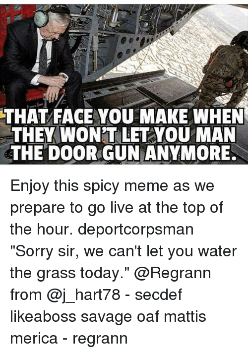 """That Face You Make When: THAT FACE YOU MAKE WHEN  THEY WONT LET YOU MAN  THE DOOR GUN ANYMORE. Enjoy this spicy meme as we prepare to go live at the top of the hour. deportcorpsman """"Sorry sir, we can't let you water the grass today."""" @Regrann from @j_hart78 - secdef likeaboss savage oaf mattis merica - regrann"""