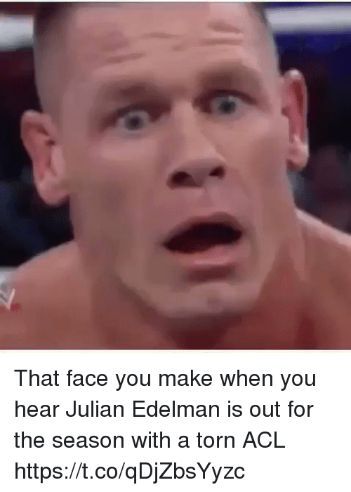 That Face You Make When: That face you make when you hear Julian Edelman is out for the season with a torn ACL https://t.co/qDjZbsYyzc
