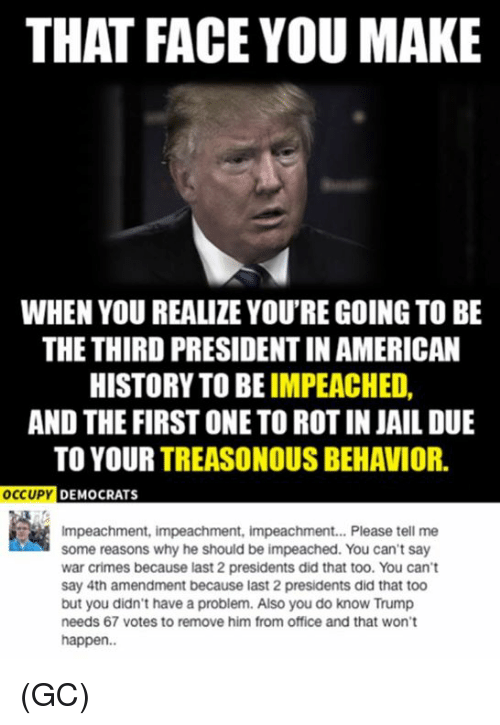 That Face You Make When: THAT FACE YOU MAKE  WHEN YOU REALIZE YOU'RE GOING TO BE  THE THIRD PRESIDENTIN AMERICAN  HISTORY TO BE  IMPEACHED  AND THE FIRST ONETO ROT IN JAIL DUE  TO YOUR  TREASONOUS BEHAVIOR  OCCUPY  DEMOCRATS  Impeachment, impeachment, impeachment... Please tell me  some reasons why he should be impeached. You can't say  war crimes because last 2 presidents did that too. You can't  say 4th amendment because last 2 presidents did that too  but you didn't have a problem. Also you do know Trump  needs 67 votes to remove him from office and that won't  happen. (GC)