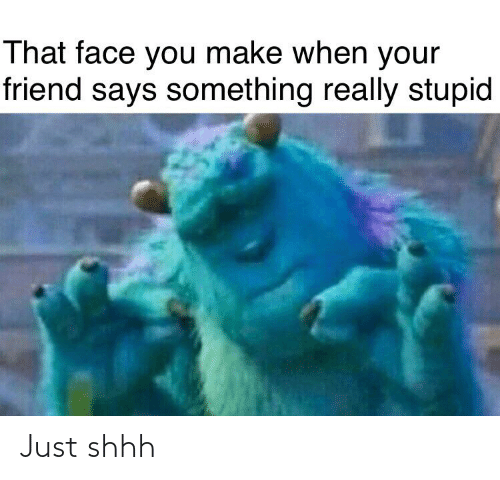 That Face You Make When: That face you make when your  friend says something really stupid Just shhh