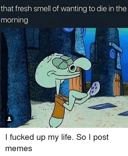 Wanting To Die: that fresh smell of wanting to die in the  morning I fucked up my life. So I post memes