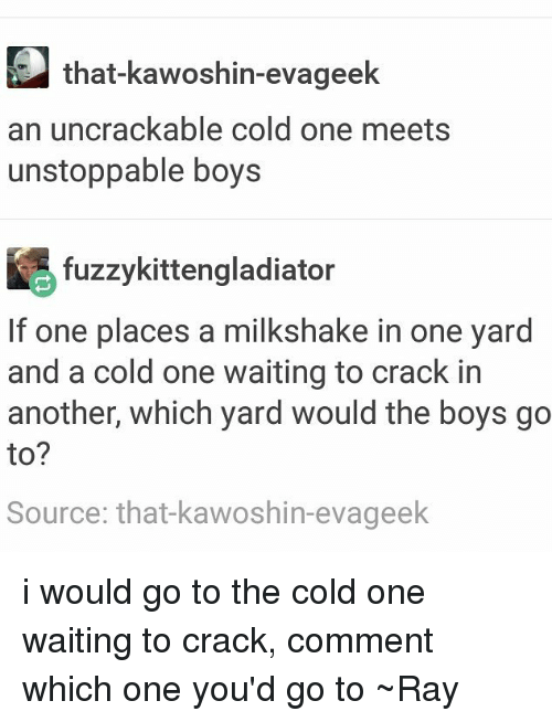 Tumblr, Cold, and Waiting...: that-kawoshin-evageek  an uncrackable cold one meets  unstoppable boys  fuzzykittengladiator  If one places a milkshake in one yard  and a cold one waiting to crack in  another, which yard would the boys go  to?  Source: that kawoshin-evageek i would go to the cold one waiting to crack, comment which one you'd go to ~Ray