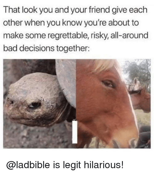 Regrettable: That look you and your friend give each  other when you know you're about to  make some regrettable, risky, all-around  bad decisions together: @ladbible is legit hilarious!