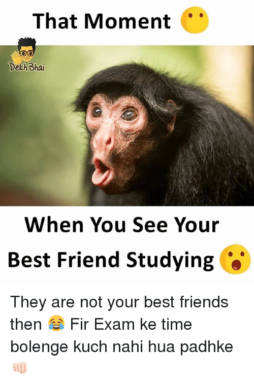 kuching: That Moment  Dekh Bhai  When You See Your  Best Friend Studying They are not your best friends then 😂 Fir Exam ke time bolenge kuch nahi hua padhke 👊🏻