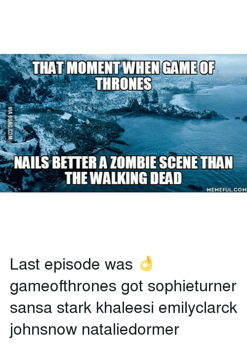 the walking dead memes: THAT MOMENT WHEN GAMEOF  THRONES  NAILS BETTER A ZOMBIE SCENE THAN  THE WALKING DEAD  MEMEFUL. COM  to . WA 9GAG.COM Last episode was 👌 gameofthrones got sophieturner sansa stark khaleesi emilyclarck johnsnow nataliedormer
