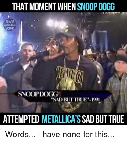 "Memes, Metallica, and Snoop: THAT MOMENT WHEN SNOOP DOGG  SHARE  SOUND  ""SADBUTTRE'-1991  ATTEMPTED METALLICA'S  SAD BUT TRUE Words... I have none for this..."