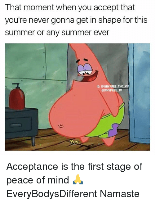 Memes, Namaste, and Summer: That moment when you accept that  you're never gonna get in shape for this  summer or any summer ever  IG: @WHYPREE THO VIP  @WHY PREE TV  Yes Acceptance is the first stage of peace of mind 🙏 EveryBodysDifferent Namaste