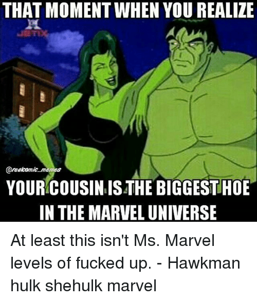 that moment when you realize: THAT MOMENT WHEN YOU REALIZE  areakomic memes  YOUR COUSIN IS THE BIGGEST HOE  IN THE MARVEL UNIVERSE At least this isn't Ms. Marvel levels of fucked up. - Hawkman hulk shehulk marvel