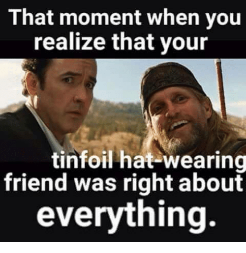 memes: That moment when you  realize that your  tinfoil hat-wearing  friend was right about  everything.