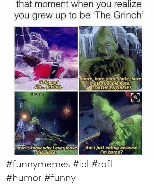 that moment when you realize: that moment when you realize  you grew up to be 'The Grinch'  Hate, hate, hate, hate hate  hote. Double hate  OATHE ENTIRELY!  @bustle  don't know why lever leave  this ploce.  Am I just eating because  I'm bored? #funnymemes #lol #rofl #humor #funny