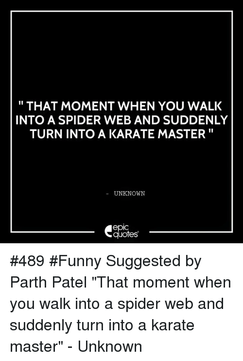 """Spider Webbed: THAT MOMENT WHEN YOU WALK  INTO A SPIDER WEB AND SUDDENLY  TURN INTO A KARATE MASTER  UNKNOWN  epIC  quotes #489 #Funny Suggested by Parth Patel  """"That moment when you walk into a spider web and suddenly turn into a karate master"""" - Unknown"""