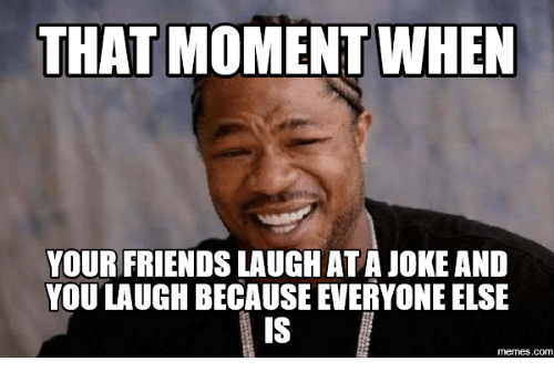 Com, Moment, and You: THAT MOMENT WHEN  YOUR FRIENDS LAUGH ATAJOKE AND  YOU LAUGH BECAUSE EVERYONE ELSE  memes.com