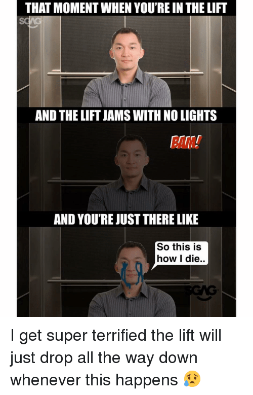 Memes, 🤖, and Super: THAT MOMENT WHEN YOU'RE IN THE LIFT  AND THE LIFT JAMSWITHNOLIGHTS  AND YOU'RE JUST THERE LIKE  So this is  how I die.. I get super terrified the lift will just drop all the way down whenever this happens 😥