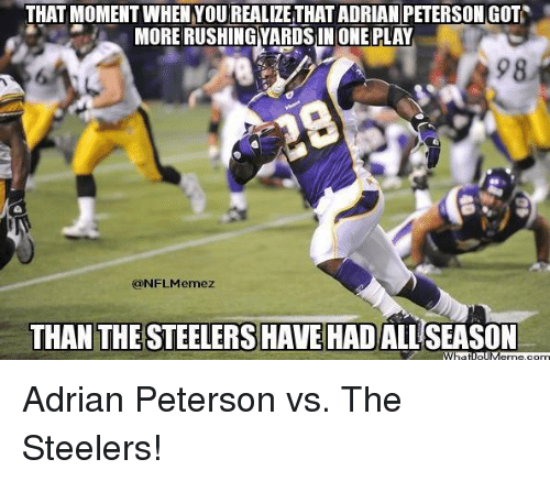 Steelers: THAT MOMENT WHEN YOUREALIZETHATADRIAN PETERSON GOT  MORE RUSHINGYARDS IN ONE PLAY  98  (aNFLMemezt  THAN THE STEELERS HAVE HADALLSEASON Adrian Peterson vs. The Steelers!