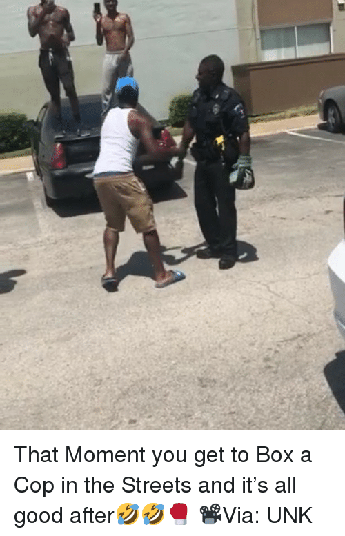 Memes, Streets, and Good: That Moment you get to Box a Cop in the Streets and it's all good after🤣🤣🥊 📽Via: UNK