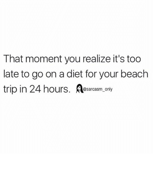 that moment you realize: That moment you realize it's too  late to go on a diet for your beach  trip in 24 hours  @sarcasm only ⠀