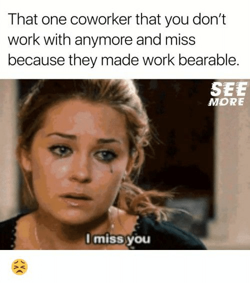 That One Coworker: That one coworker that you don't  work with anymore and miss  because they made work bearable.  SEE  MORE  Miss you