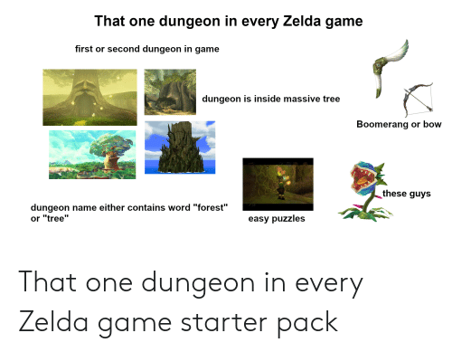 """zelda game: That one dungeon in every Zelda game  first or second dungeon in game  dungeon is inside massive tree  Boomerang or bow  these guys  dungeon name either contains word """"forest""""  or """"tree""""  easy puzzles That one dungeon in every Zelda game starter pack"""